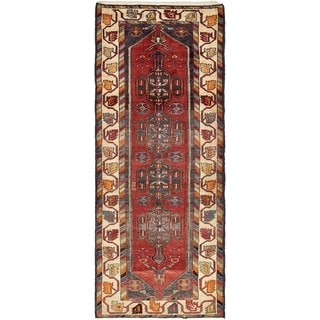Hand Knotted Saveh Semi Antique Wool Runner Rug - 3' 9 x 9' 1