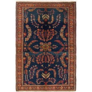 Hand Knotted Sarough Semi Antique Wool Area Rug - 4' 5 x 6' 10