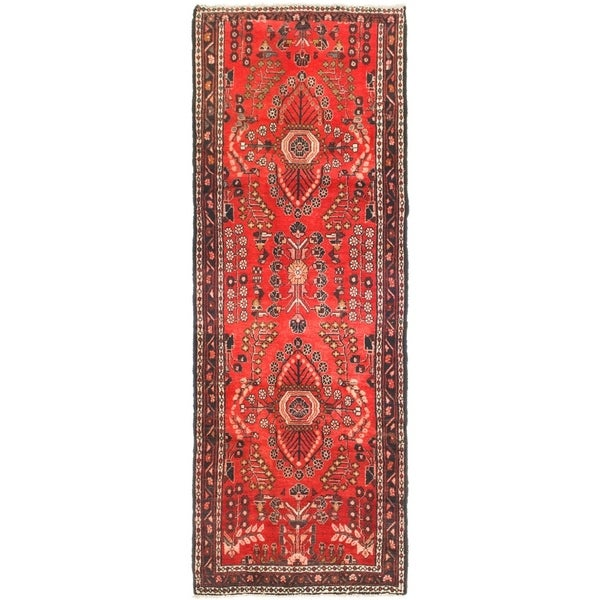 Hand Knotted Shahrbaft Semi Antique Wool Runner Rug - 3' 5 x 9' 6