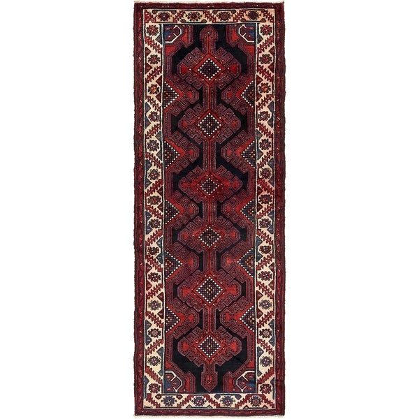 Hand Knotted Shahsavand Semi Antique Wool Runner Rug - 3' 6 x 9' 10