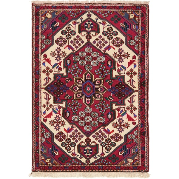 Hand Knotted Saveh Wool Area Rug - 3' 4 x 4' 11