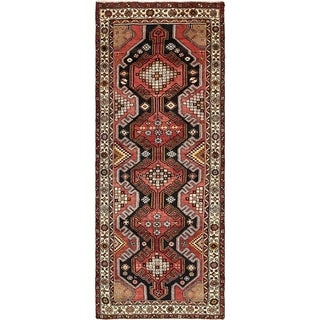 Hand Knotted Saveh Semi Antique Wool Runner Rug - 3' 8 x 9' 7
