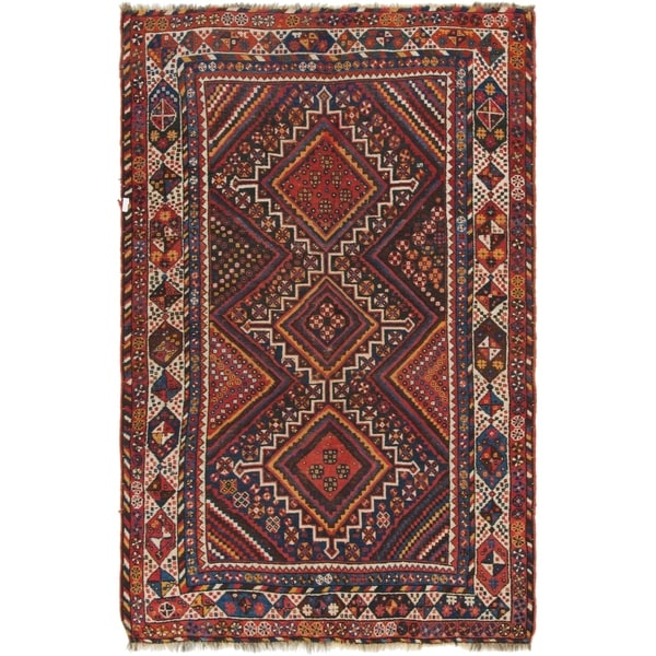 Hand Knotted Shiraz Antique Wool Area Rug - 4' 7 x 7' 2