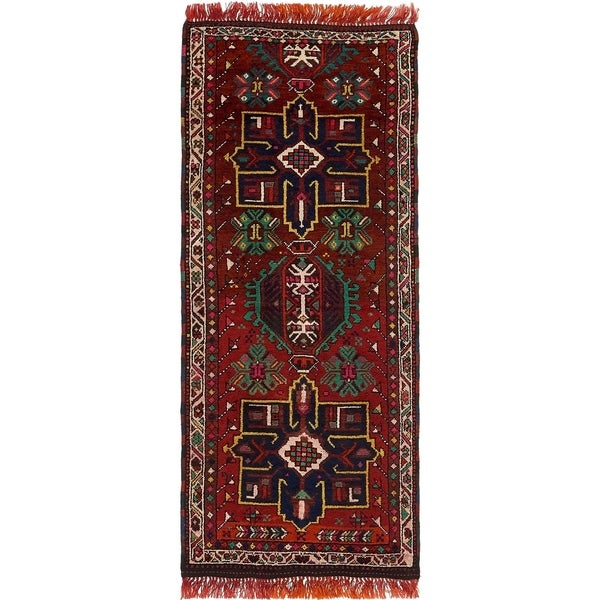 Hand Knotted Shiraz Wool Runner Rug - 3' x 7' 6