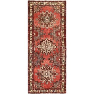 Hand Knotted Saveh Semi Antique Wool Runner Rug - 3' 9 x 9' 9
