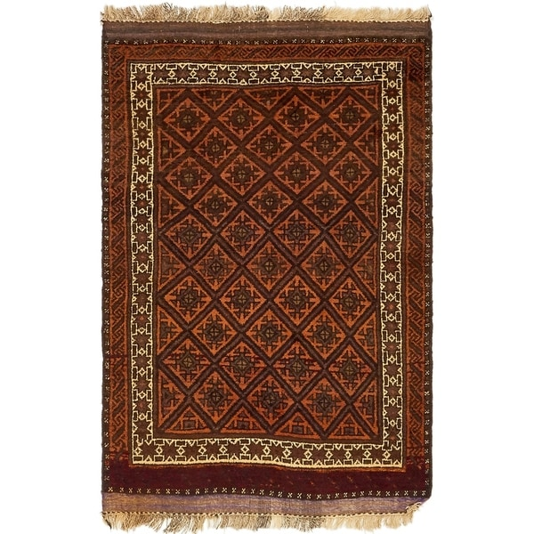 Hand Knotted Shiraz Wool Area Rug - 3' 9 x 5' 8