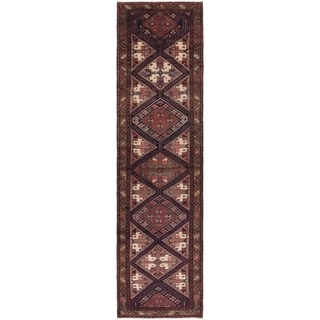 Hand Knotted Saveh Semi Antique Wool Runner Rug - 3' 7 x 13' 8