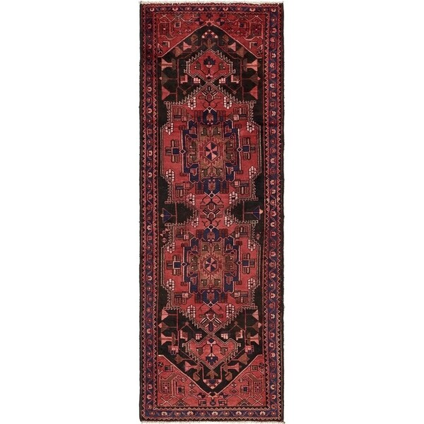 Hand Knotted Saveh Semi Antique Wool Runner Rug - 3' 3 x 9' 8