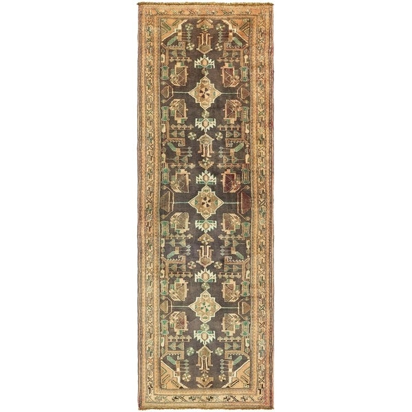 Hand Knotted Shahsavand Antique Wool Runner Rug - 3' 5 x 10' 6