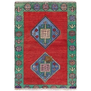 Hand Knotted Shiraz Semi Antique Wool Area Rug - 2' 9 x 4'
