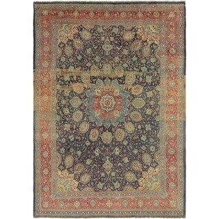 Hand Knotted Sarough Antique Wool Area Rug - 9' 9 x 13' 10