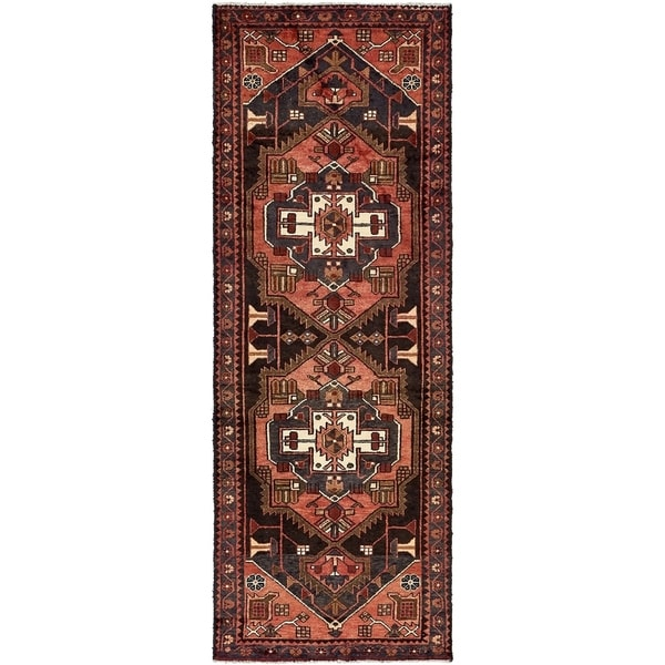 Hand Knotted Saveh Semi Antique Wool Runner Rug - 3' 3 x 8' 11