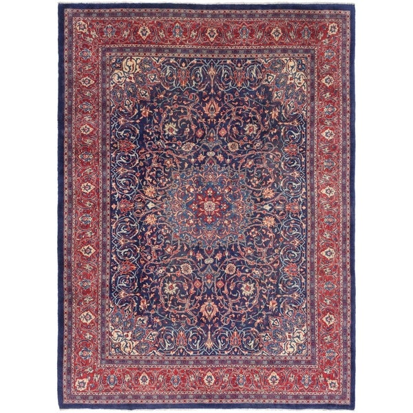 Hand Knotted Sarough Semi Antique Wool Area Rug - 9' 8 x 13' 2