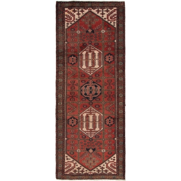 Hand Knotted Saveh Semi Antique Wool Runner Rug - 3' 6 x 9' 5