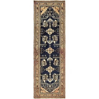 Hand Knotted Shahsavand Semi Antique Wool Runner Rug - 3' 4 x 10' 1