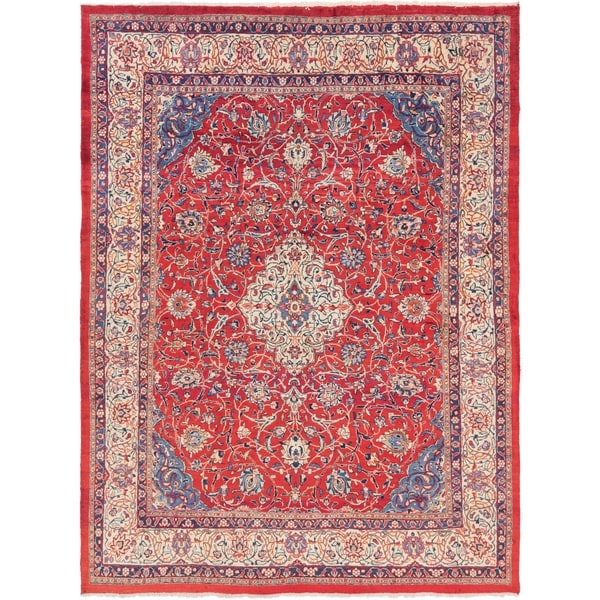 Hand Knotted Sarough Semi Antique Wool Area Rug - 9' 9 x 13'