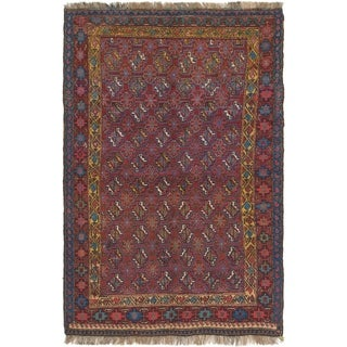 Hand Knotted Shiraz Semi Antique Wool Area Rug - 4' 3 x 6' 8