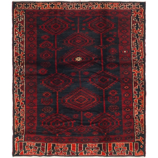 Hand Knotted Shiraz Semi Antique Wool Square Rug - 5' 8 x 6' 4