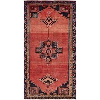 Hand Knotted Shiraz Semi Antique Wool Runner Rug - 4' 7 x 9' 4