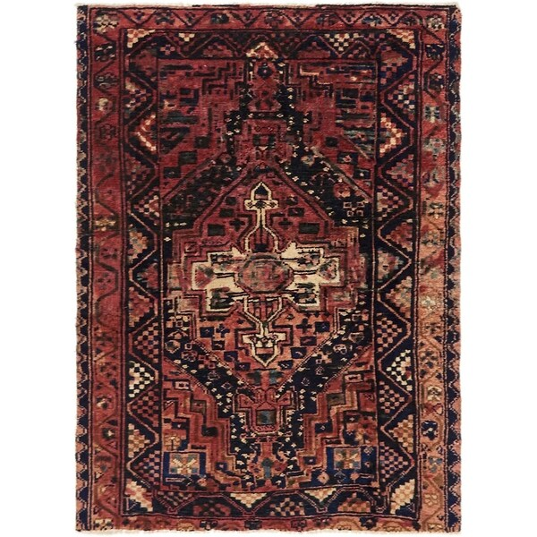 Hand Knotted Shiraz Semi Antique Wool Area Rug - 4' 2 x 5' 8