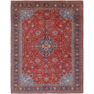 Hand Knotted Sarough Semi Antique Wool Area Rug - 9' 10 x 13'
