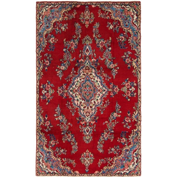 Hand Knotted Shahrbaft Semi Antique Wool Area Rug - 5' 2 x 8' 7