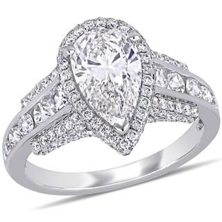 Miadora 14k White Gold 3ct TDW Certified Diamond Teardrop Halo Engagement Ring (GIA)
