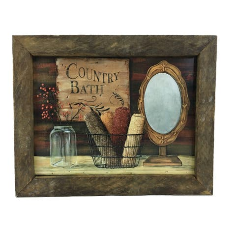 Country Bath Print with Rustic Reclaimed Tobacco Lath Frame