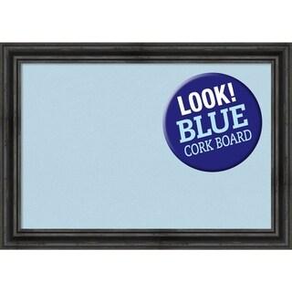 Framed Blue Cork Board, Rustic Pine Black