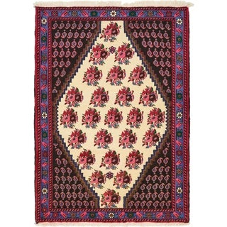 Hand Knotted Shahrbaft Wool Area Rug - 3' 7 x 4' 11