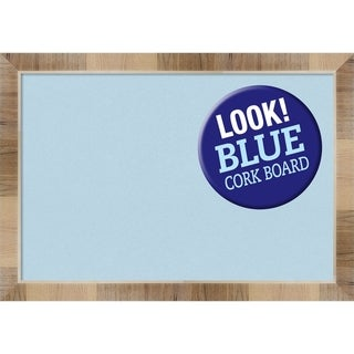 Framed Blue Cork Board, Natural White Wash