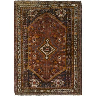 Hand Knotted Shiraz Semi Antique Wool Area Rug - 5' 9 x 8' 3