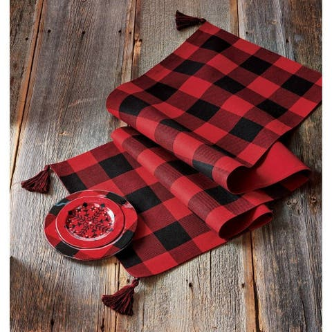 TAG Buffalo Check Runner With Tassels Red