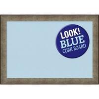 Framed Blue Cork Board, Pounded Metal