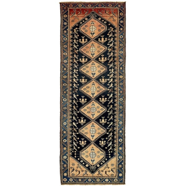 Hand Knotted Shahsavand Antique Wool Runner Rug - 4' 6 x 12' 8