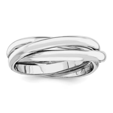14K White Gold Rhodium-plated Polished Hollow Rolling Ring by Versil
