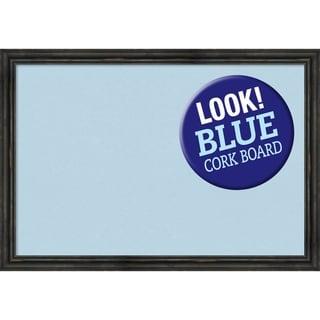 Framed Blue Cork Board, Rustic Pine Narrow Black