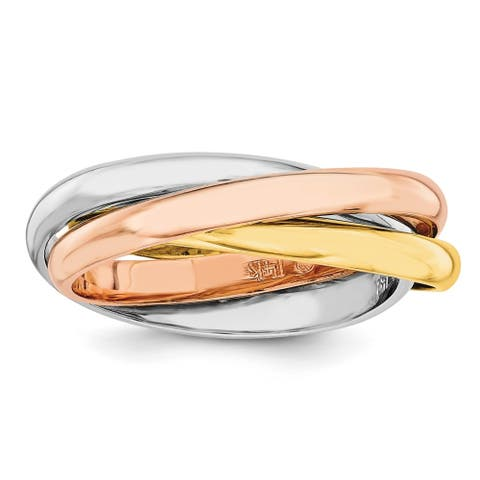 14K Tri-color Hollow High Polished Rolling Fancy Ring by Versil