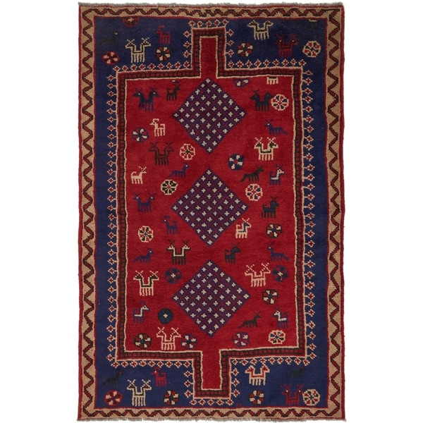 Hand Knotted Shiraz Wool Area Rug - 4' 10 x 7' 7