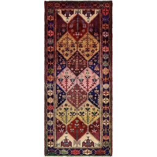 Hand Knotted Shiraz Semi Antique Wool Runner Rug - 4' 4 x 10' 3