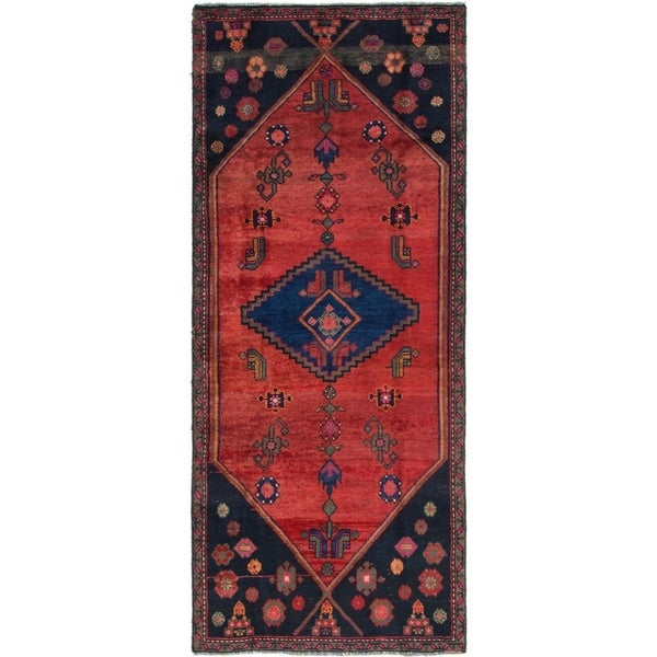 Hand Knotted Shiraz Semi Antique Wool Runner Rug - 3' 3 x 7' 8