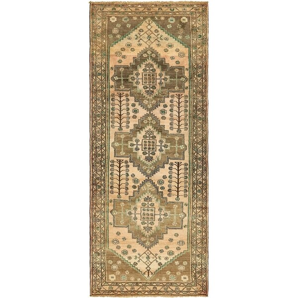 Hand Knotted Shahsavand Antique Wool Runner Rug - 3' 9 x 9' 5