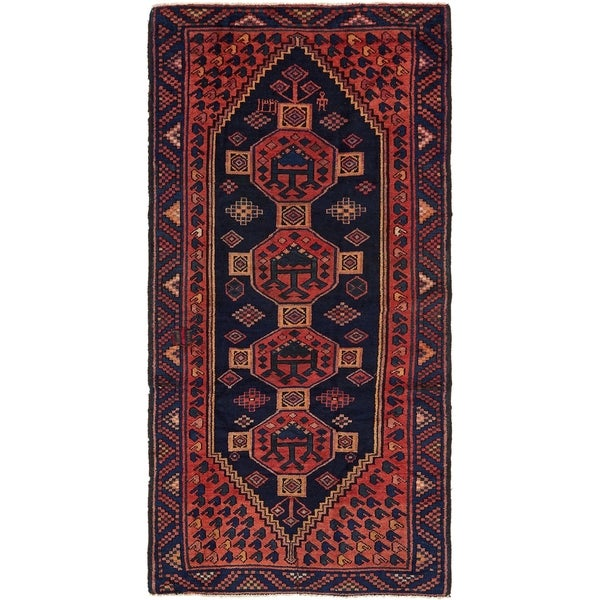 Hand Knotted Shiraz Semi Antique Wool Runner Rug - 3' 5 x 9' 5