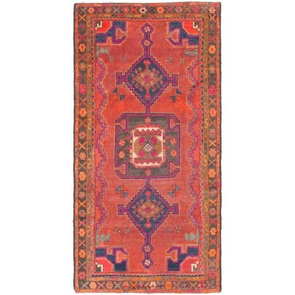 Hand Knotted Shiraz Semi Antique Wool Runner Rug - 3' 10 x 7' 9