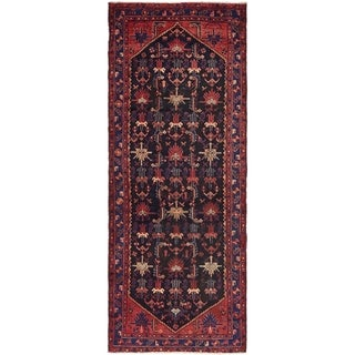 Hand Knotted Saveh Semi Antique Wool Runner Rug - 3' 8 x 9' 9