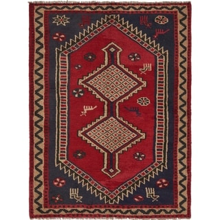 Hand Knotted Shiraz Semi Antique Wool Area Rug - 5' x 6' 5