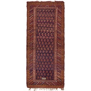 Hand Knotted Shiraz Antique Wool Runner Rug - 5' x 11' 4