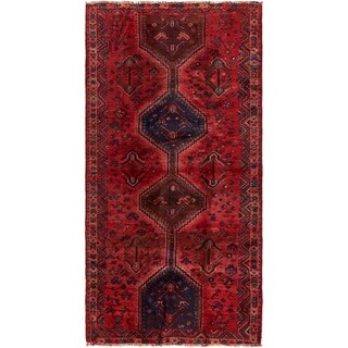 Hand Knotted Shiraz Antique Wool Runner Rug - 4' 4 x 8' 7