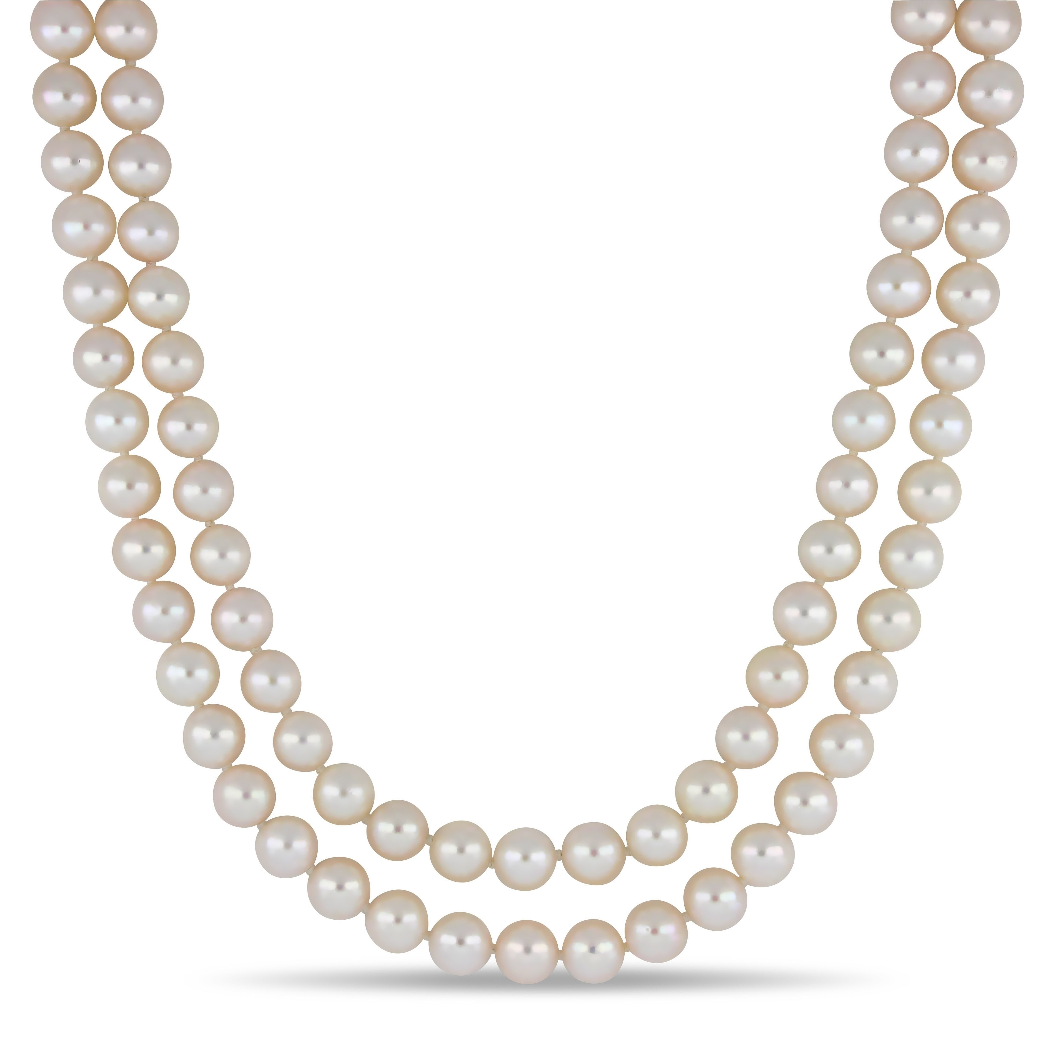 Pearl Pendant 14k White Gold Necklace 8-8.5mm White Japanese Akoya