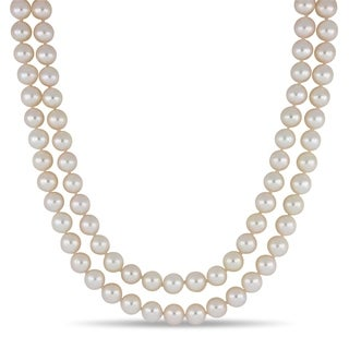 Miadora 14k White Gold Japanese Akoya Cultured Pearl 54-Inch Necklace (8-8.5mm)